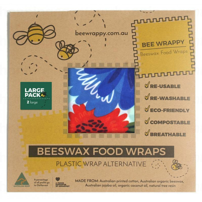 Bee Wrappy - food wraps - 2 x large, økologisk