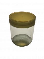450 gr. rundt glas med guldlåg af plast, 12 stk.
