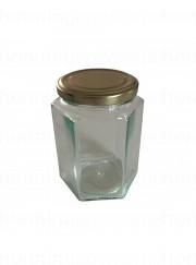 450 gr. 6-kantet glas med metallåg, 12 stk.